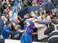 Inverness's Gary Warren celebrates with fans after a Scottish Cup victory over Celtic. (2015) - Press and Journal