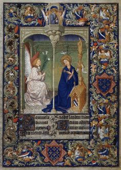 The Belles Heures of Jean, Duke of Berry: Annunciation  1410-16  Tempera and gold leaf on parchment, 239 x 168 mm  Metropolitan Museum of Art, New York