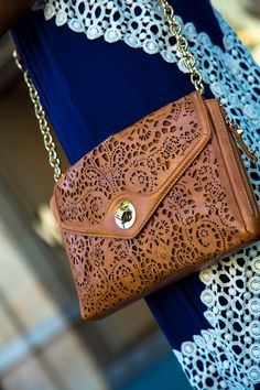 An Outfit for a Day of Shopping: Laser-Cut Brown Handbag + Gorgeous Royal Blue Maxi Summer Dress (detail) | StylishlyMe.