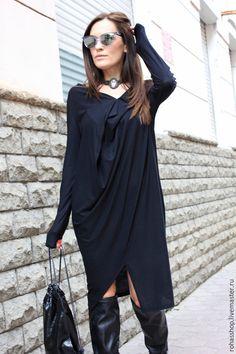 Вечернее платье Платье черное платья стильное платье длинное платье свободный стиль платье на выход повседневное платье ассиметричное платье…