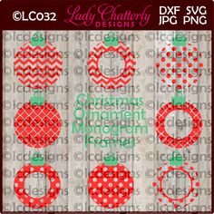 LC032 - Round Christmas Ornament Monogram Frames by LadyChatterlyDesigns on Etsy