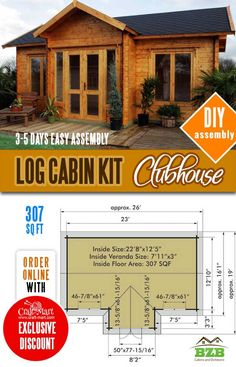 Highly affordable small and tiny log cabin kits that you can assemble yourself in days! Small Cabin Plans, A Frame House Plans, Small Log Cabin, Small House Floor Plans, Cabin House Plans, Tiny House Cabin, Cabin Homes, Log Homes, Cottage Homes