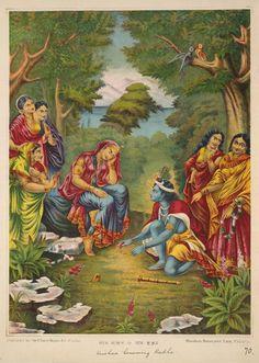 Radha is being Cajoled by the Playful Krishna - Lithograph Print, Chore Bagan Art Studio, Calcutta (Kolkata), Circa 1895 Pichwai Paintings, Mughal Paintings, Indian Paintings, Radha Krishna Images, Krishna Radha, Radha Rani, Shiva Purana, Raja Ravi Varma, Iskcon Krishna