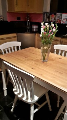 Lucie country style hand painted kitchen table & four chairs in alabaster white  £245.00