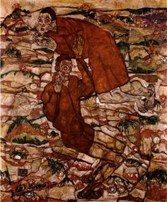 Egon Schiele - Levitation 1915 oil on canvas. private collection