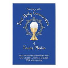 First Communion Catholic boy blue background Invitation   Zazzle.com