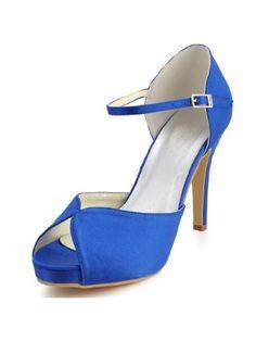 Elegantpark EP2066-IP Blue Women's Peep Toe Platform Stiletto High Heel Satin Buckles Prom Wedding Shoes US 5