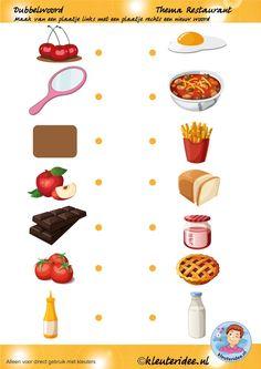 Dubbelwoord, maak van twee woorden een nieuw woord, thema restaurant, juf Petra van kleuteridee, free printable