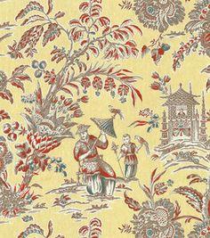 "P/K Lifestyles Print Fabric 54""-Asian Arcadia/Persimmon"