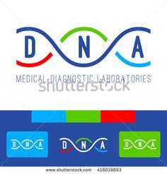 DNA logo of medical clinic diagnostic laboratories. Color vector DNA genomes spiral on white, blue, red and green background. - stock vector