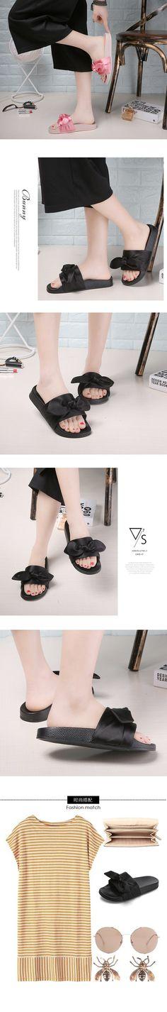 Silk Bow Slides Beach Shoes Woman Slippers Flip Flops Ladies Rihanna B – coco8866