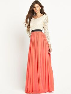 Rare Lace Top Long Sleeve Maxi Dress | very.co.uk