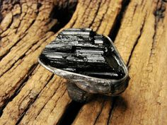Raw Black Tourmaline , Black Tourmaline Geode handmade Art Jewellry adjustable black ring stained glass tiffany stylized to old silver by GepArtJewellery on Etsy