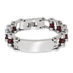 Mens Stainless Steel 9 Red Leather Bars with ID Engraveable Bracelet *** Visit the image link more details. Cool Mens Bracelets, Cuff Bracelets, Leather Men, Brown Leather, Bracelet Designs, Jewelry Watches, Mens Fashion, Stainless Steel, Accessories
