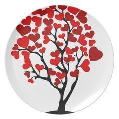 red heart tree plate