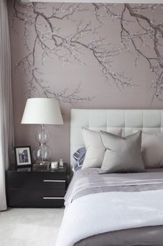 Interview with luxury interior designer Amelia Carter. Amelia Carter creates beautiful bespoke interiors with an emphasis on durable elegance. Beautiful Bedroom Designs, Beautiful Bedrooms, Interior Wallpaper, Wall Wallpaper, Accent Wallpaper, Luxury Interior, Interior Styling, Interior Design, Bedroom Colors