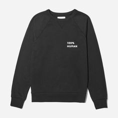 We launched the 100% Human Collection to support two things that matter to us—protecting human rights and remembering that we are more the same than we are different. For every 100% Human product sold, we're proud to donate $5 towards the ACLU.  Featured here is our Classic French Terry Crew sweatshirt with a small print, as well as our 100% Human pin—free with every purchase while supplies last.