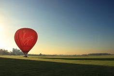 Virgin hot air balloon on York's Knavesmire race course.