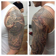 Phoenix half sleeve Phoenix Tattoo Sleeve, Phoenix Tattoo Men, Phoenix Tattoo Design, Left Arm Tattoos, Half Sleeve Tattoos For Guys, Japanese Phoenix Tattoo, Men Flower Tattoo, Eagle Tattoos, Tattoo Project