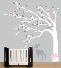 Childrens wall decals forest wall decal white mod by couturedecals, $129.00