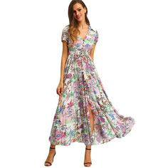 Gender: Women Silhouette: A-Line Sleeve Length(cm): Short Neckline: V-Neck Dresses Length: Ankle-Length Brand Name: SheIn Season: Summer Material: Rayon Pattern Type: Print Decoration: Button Waistline: Natural Model Number: dress160315519 Sleeve Style: Regular Color Style: Natural Color Date: 2016.3.24 503 Fabric Type: Broadcloth Style: Casual