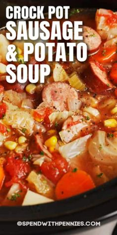This Sausage Potato Soup is so easy to make. Just place all ingredients in a slow cooker and dinner will be ready in 4 hours! This Sausage Potato Soup is so easy to make. Just place all ingredients in a slow cooker and dinner will be ready in 4 hours! Slow Cooker Recipes, Soup Recipes, Cooking Recipes, Recipies, Crock Pot Soup, Crock Pot Cooking, Sausage Potato Soup, Crockpot Sausage And Potatoes, Sausage Crockpot Recipes