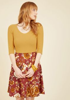 Ready for the Jetty Twofer Dress in Marigold - Yellow, Red, Floral, Print, Casual, A-line, Twofer, 3/4 Sleeve, Fall, Winter, Knit, Better, Exclusives, Mid-length