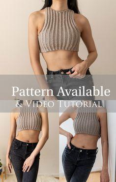 Crochet Shorts Pattern, Boho Crochet Patterns, Crochet Shirt, Crochet Crop Top, Crochet Clothes, Diy Clothes, Crop Top Pattern, Crochet Woman, Crochet Basics