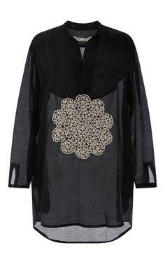 Cotton Silk Shirt Dress With Frivolite Embroidery by LILA EUGENIE  Now Available on Moda Operandi