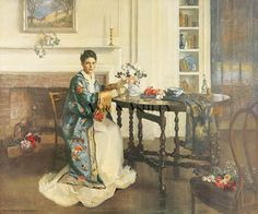The Blue Kimono by Marguerite S. Pearson. I have this print in my bedroom and I love i as well, such detail and so many things to look at...