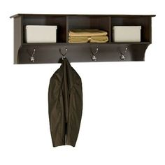 Wood wall shelf with 4 hooks and 3 compartments.  Product: Wall rack      Construction Material: Wood and metal