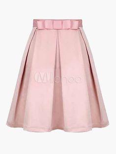 Falda de color liso con lazo - Milanoo.com