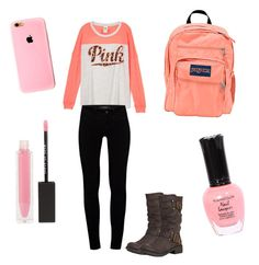 """Classy school outfit"" by brittneytaylorsparks on Polyvore featuring J Brand, Rocket Dog, JanSport and MAKE UP STORE"