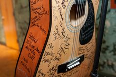 "This is the 2nd time I've posted this idea...it's such an awesome one...LOVE IT. ""Rock and roll wedding - guitar as the guest book"""