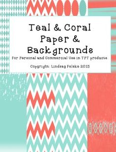 Background Paper (Teal and Coral) for personal and commercial use!
