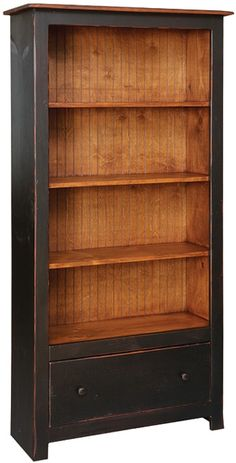 Kloter Farms - Sheds, Gazebos, Garages, Swingsets, Dining, Living, Bedroom Furniture CT, MA, RI: 6' High Bookcase with 1 Drawer: Distressed Solid Paint or Stain
