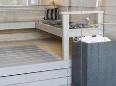 asuntomessut_validusmotus_sauna Modern Saunas, Sauna Shower, Portable Sauna, Sauna Steam Room, Bathroom Inspiration, Bunk Beds, Spa, Relax, Furniture