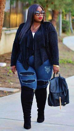 Stylish Plus-Size Fashion Ideas – Designer Fashion Tips Plus Size Fashion For Women, Black Women Fashion, Plus Size Womens Clothing, Look Fashion, Clothes For Women, Plus Fashion, Fashion Trends, Size Clothing, Fall Fashion