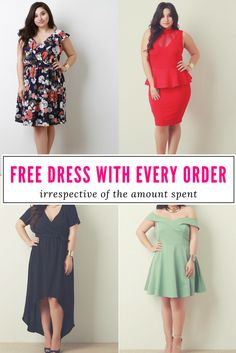 Buy now your favorite #PlusSize garment and get the dress of YOUR choice for FREE! #PlusSizeFashion #Discount #FreeGift