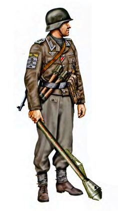 Cazacarros armado con un Panzerfaust durante la toma de Berlín, lleva la Tank Destruction Badge en silver y Gold