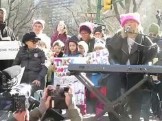 "MILCK performs ""Quiet"" as Yoko Ono joins her on stage at the Womens March NYC, Jan. Yoko Ono, News"