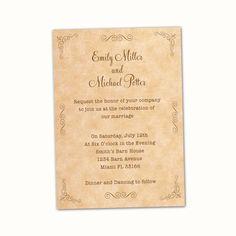 Vintage Wedding Invitations Cards  Wedding by PinkTheCatWeddings, $12.99
