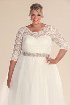 1960 style Retro plus size wedding dress.