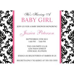 Damask Baby Shower Invitation, via Flickr.