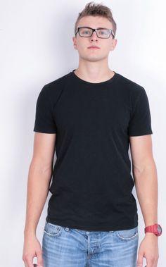 Boss Orange Mens L Shirt Crew Neck Black Short Sleeve Summer Cotton