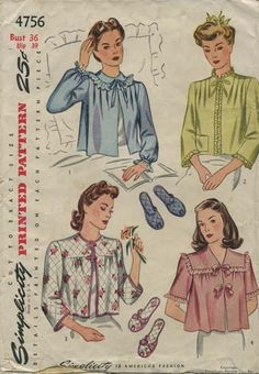 Vintage Sewing Pattern | Bed Jacket and Slipper Set | Simplicity 4756 | Year 1943 | Bust 36 | Waist n/a | Hip 39