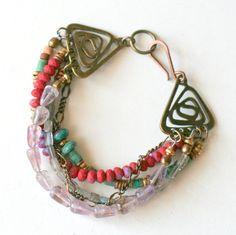 Bohemian Style Beaded Bracelet, Multi Strand, Gemstone Jewelry, Celtic Spiral Bracelet. $48.00, via Etsy.