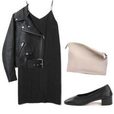 black dress + leather jacket + vintage shoes + leather handbag + dotted tights