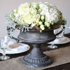 Large Grey Urn Wedding Centrepiece - diameter and tall. Crown Centerpiece, Bird Cage Centerpiece, Tree Centerpieces, Wedding Centerpieces For Sale, Wedding Table Centerpieces, Glass Tea Light Holders, Candle Holders, Candle Favors, Favours