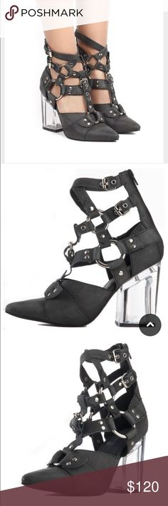 Jeffrey Campbell Rialto Black Clear Heel Boots Jeffrey Campbell Rialto Black Clear Heel Boots. Black and silver buckles with a clear heel! Jeffrey Campbell Shoes Ankle Boots & Booties